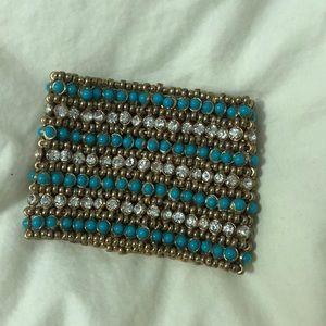 Turquoise crystal stretch bracelet